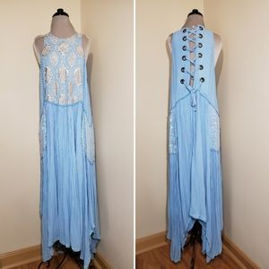 Free People Sequin Embellished Corset Maxi Blue